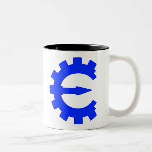Logotipo azul básico taza de café