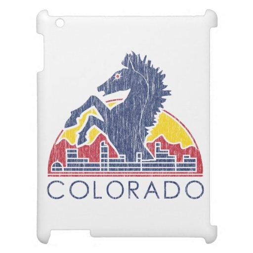 Logotipo azul de Colorado del caballo del vintage