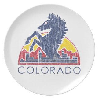 Logotipo azul de Colorado del caballo del vintage Plato De Cena