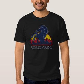 Logotipo azul de Colorado del caballo del vintage Polera