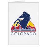 Logotipo azul de Colorado del caballo Felicitación