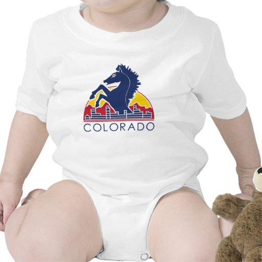 Logotipo azul de Colorado del caballo Trajes De Bebé