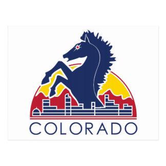 Logotipo azul de Colorado del caballo Postales