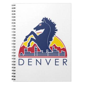 Logotipo azul de Denver del caballo Libro De Apuntes Con Espiral