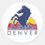 Logotipo azul de Denver del caballo Pegatina Redonda