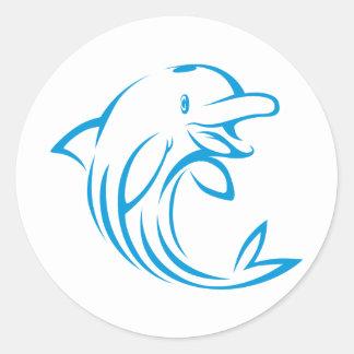 Logotipo azul de encargo del delfín pegatina redonda