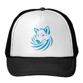 Logotipo azul de encargo del lobo gorro