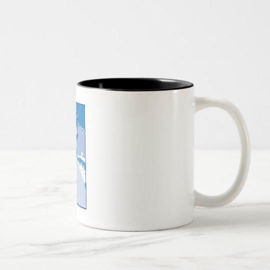 Logotipo azul de la resaca taza de café de dos colores