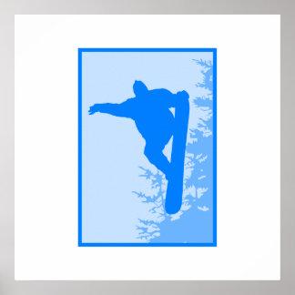 Logotipo azul de la snowboard poster