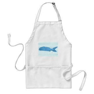 logotipo azul de los pescados delantal