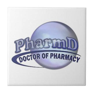 LOGOTIPO AZUL de PharmD - el DOCTOR OF PHARMACY Azulejo Cuadrado Pequeño