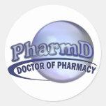LOGOTIPO AZUL de PharmD - el DOCTOR OF PHARMACY Pegatina Redonda