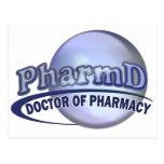 LOGOTIPO AZUL de PharmD - el DOCTOR OF PHARMACY Postal