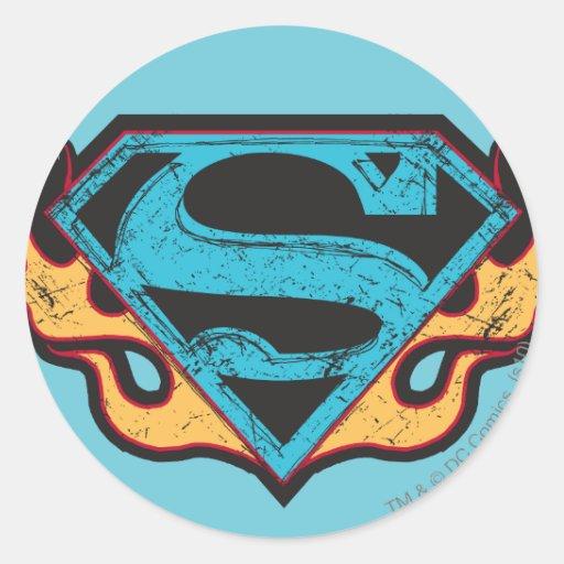 Logotipo azul de Supergirl con las llamas Pegatina Redonda