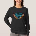 Logotipo azul de Supergirl con las llamas Playera