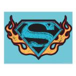 Logotipo azul de Supergirl con las llamas Postales