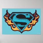 Logotipo azul de Supergirl con las llamas Póster