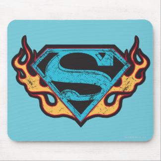 Logotipo azul de Supergirl con las llamas Mouse Pads