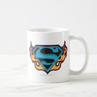 Logotipo azul de Supergirl con las llamas Taza De Café