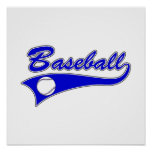 Logotipo azul del béisbol impresiones