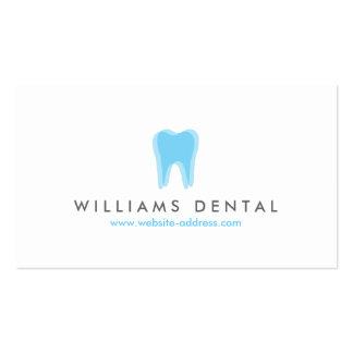 Logotipo azul del diente del dentista moderno, tarjetas de visita