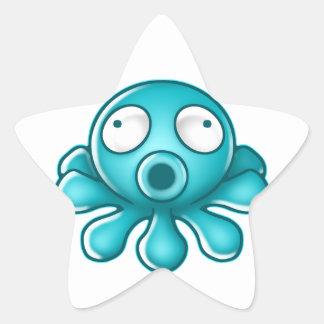 Logotipo azul del japonés del pulpo calcomanías forma de estrellas
