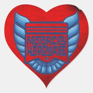 Logotipo azul del pájaro del hardware de la ciudad pegatina en forma de corazón