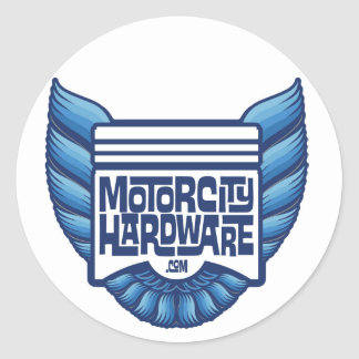 Logotipo azul del pájaro del hardware de la ciudad pegatina redonda