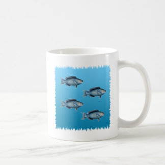 Logotipo azul del pez papagayo taza de café