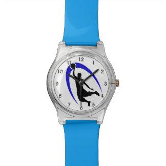 Logotipo azul negro del baloncesto reloj de mano