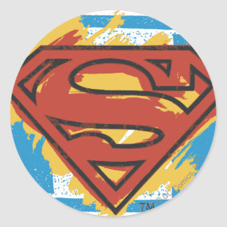 Logotipo azul pintado el | del fondo del S-Escudo Pegatina Redonda