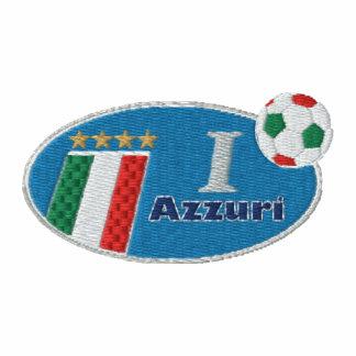 Logotipo azul retro de Azzurri con la bandera ital Sudadera Bordada Con Serigrafía