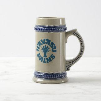 Logotipo azul Stein de las palmas de Havasu Jarra De Cerveza