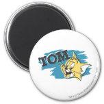 Logotipo azul y amarillo de Tom Imán Redondo 5 Cm