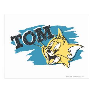 Logotipo azul y amarillo de Tom Postales