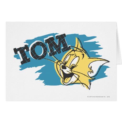 Logotipo azul y amarillo de Tom Tarjeta De Felicitación