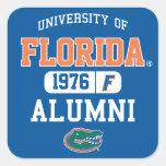 Logotipo azul y anaranjado de UFL de los alumnos Pegatinas Cuadradas Personalizadas