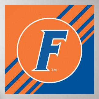 Logotipo azul y blanco de la Florida F Poster