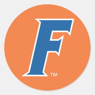 Logotipo azul y blanco de la Florida F Pegatina Redonda