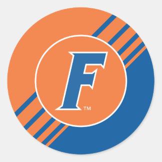 Logotipo azul y blanco de la Florida F Pegatinas Redondas