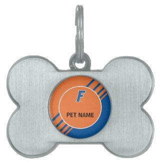 Logotipo azul y blanco de la Florida F Placa Mascota