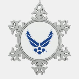 Logotipo azul y blanco de la fuerza aérea de adorno de peltre en forma de copo de nieve