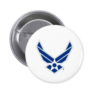 Logotipo azul y blanco de la fuerza aérea de pin redondo de 2 pulgadas