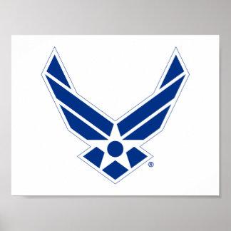 Logotipo azul y blanco de la fuerza aérea de póster