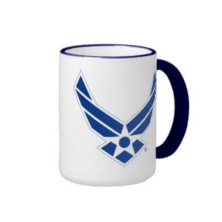 Logotipo azul y blanco de la fuerza aérea de taza a dos colores