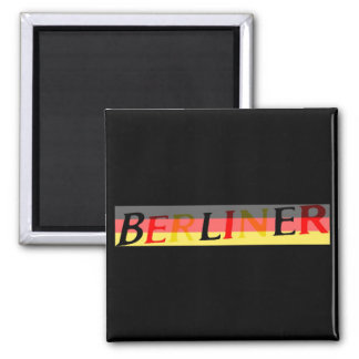 Logotipo berlinés en bandera alemana imán cuadrado