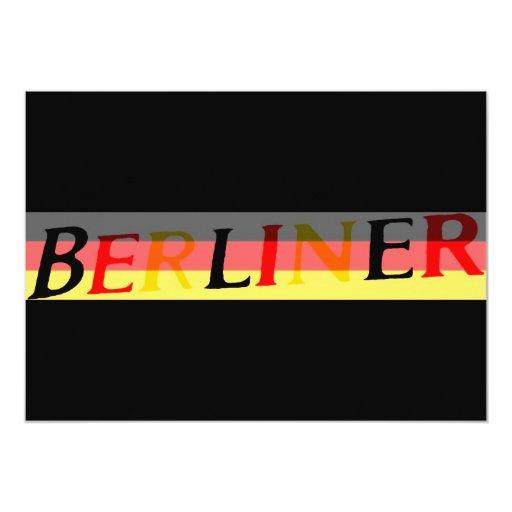 Logotipo berlinés en bandera alemana invitación 12,7 x 17,8 cm