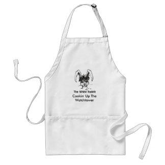Logotipo blanco a, Cookin del conejo encima de la  Delantal