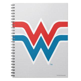 Logotipo blanco de la Mujer Maravilla y azul rojo Libreta