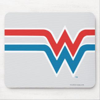 Logotipo blanco de la Mujer Maravilla y azul rojo Tapete De Ratón